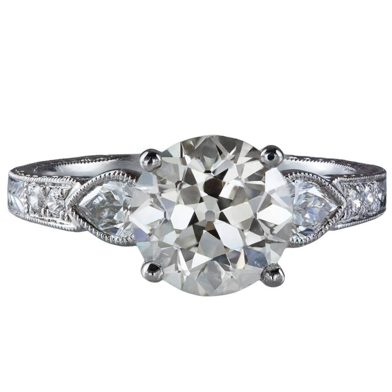 GIA Certified Diamond Gold Engagement Ring For Sale