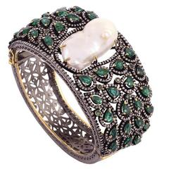 Pearl and Emerald Bangle with Diamonds