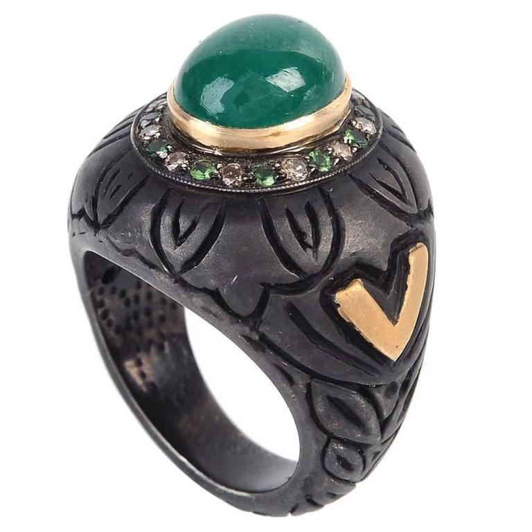 Cabochon Emerald Diamond Gold Ring