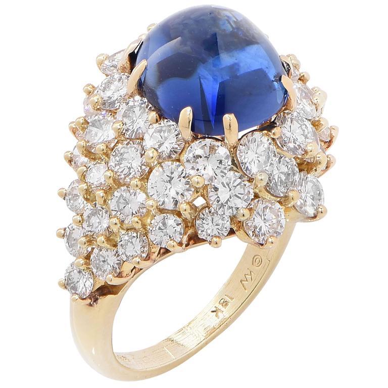 Kurt Wayne 9.8 Carat Natural Cabochon Sapphire Diamond Gold Ring