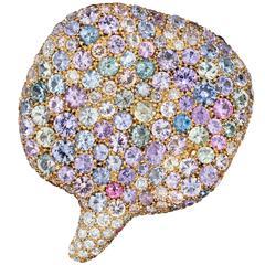 Naomi Sarna Sapphire Diamond Gold Petal Pendant