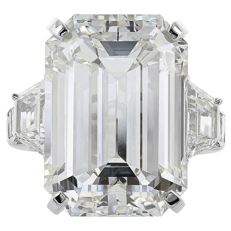 22.02 Carat Emerald Cut Diamond Platinum Three Stone Engagement  Ring
