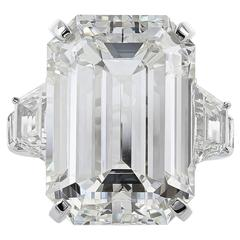 22.02 Carat Emerald Cut Diamond Platinum Three Stone Engagement  Ring