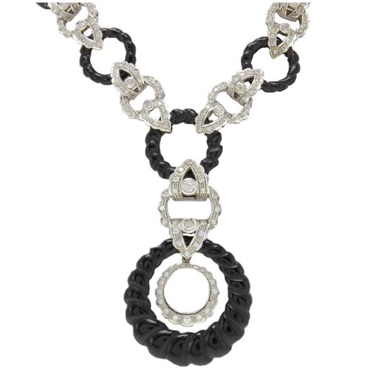 Diamond Onyx Link Gold Necklace