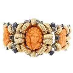 Luise Coral Diamond Sapphire Bracelet