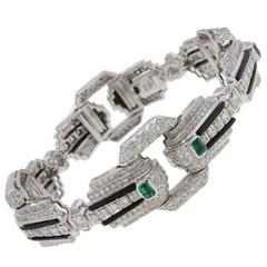 Luise Diamond Onyx Emerald Link Bracelet