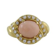 Pink Coral Diamond Yellow Gold