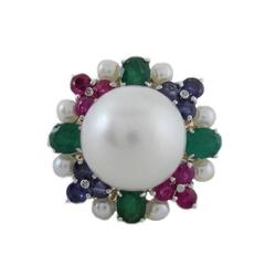 Precious Stone Diamond Pearl Gold Ring