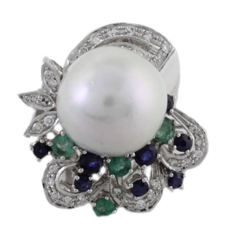 Australian Pearl Diamond Sapphire Emerald Gold  Ring