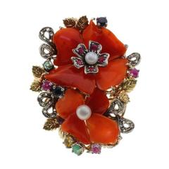 Coral Flower Multi Stones Pearl Gold and Silver  Ring