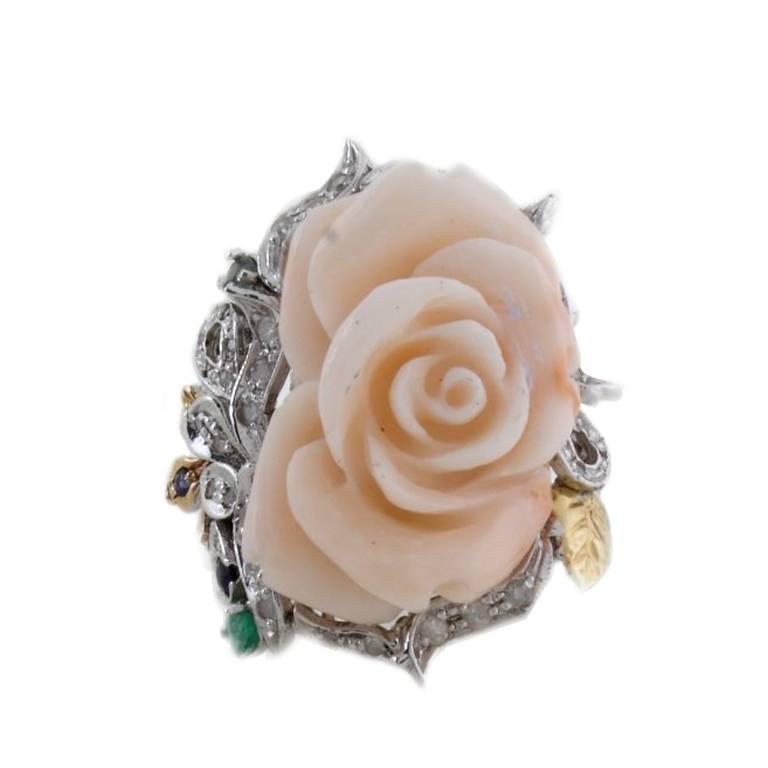 Coral Diamond Emerald Sapphire Gold Ring