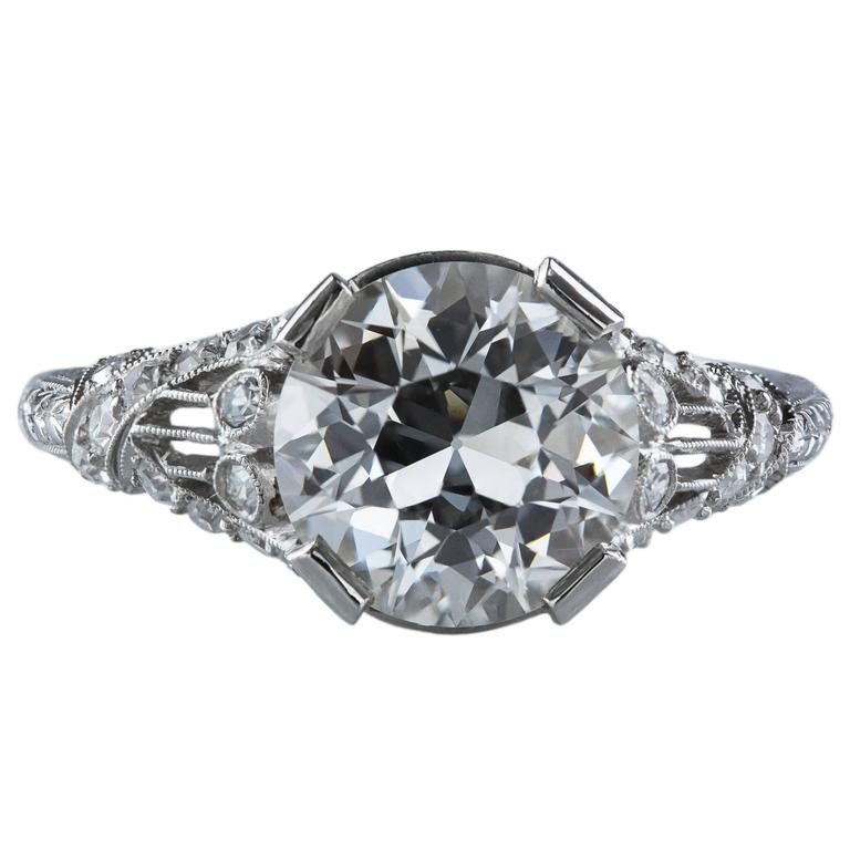 Antique GIA Certified Diamond Platinum Ring For Sale