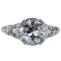 Antique GIA Certified Diamond Platinum Ring