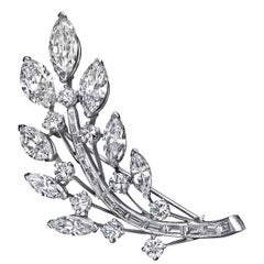 Diamond Platinum Leaf Brooch