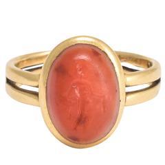 "Roman ""Fortuna"" Carnelian Intaglio Ring"