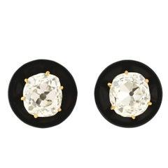Victorian Onyx Cushion Mine Cut Diamond Stud Earrings 1.70 Carat