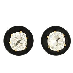 Victorian Onyx Cushion Mine Cut Diamond Stud Earrings 1.70 Carat