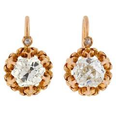 Victorian Cushion Mine Cut 2.03 Carat Total Weight Diamond Earrings