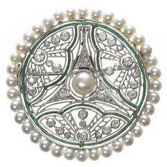 Pearl Diamond and Enamel Brooch