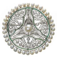 Pearl Diamond and Enamel Brooch