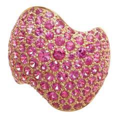 Van Cleef & Arpels Pink Sapphire Pave Ring