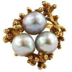 Free-Form Baroque Pearl Ring 14 Karat Gold Vintage