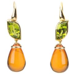 Elegant Peridot and Amber Drop Earrings