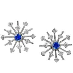 Sapphire Diamond White Gold Starburst Earrings