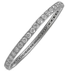 Edwardian Stretchy Flexible Diamond Platinum Bracelet