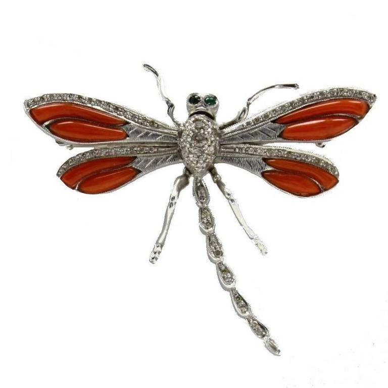 Coral Diamond Dragonfly Brooch Gold  Pendant