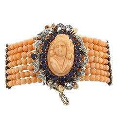 Corals Sapphire Diamond Gold  and Silver Bracelet