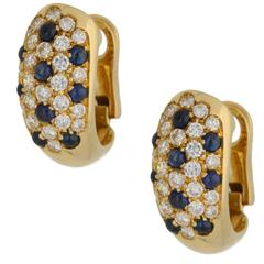 1980s Cartier Sapphire and Diamond Gold Earrings