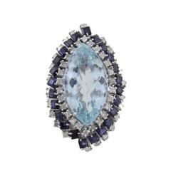 Luise Aquamarine Diamond Blue Sapphire Ring