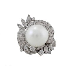 Australian Pearl Diamond Gold Ring