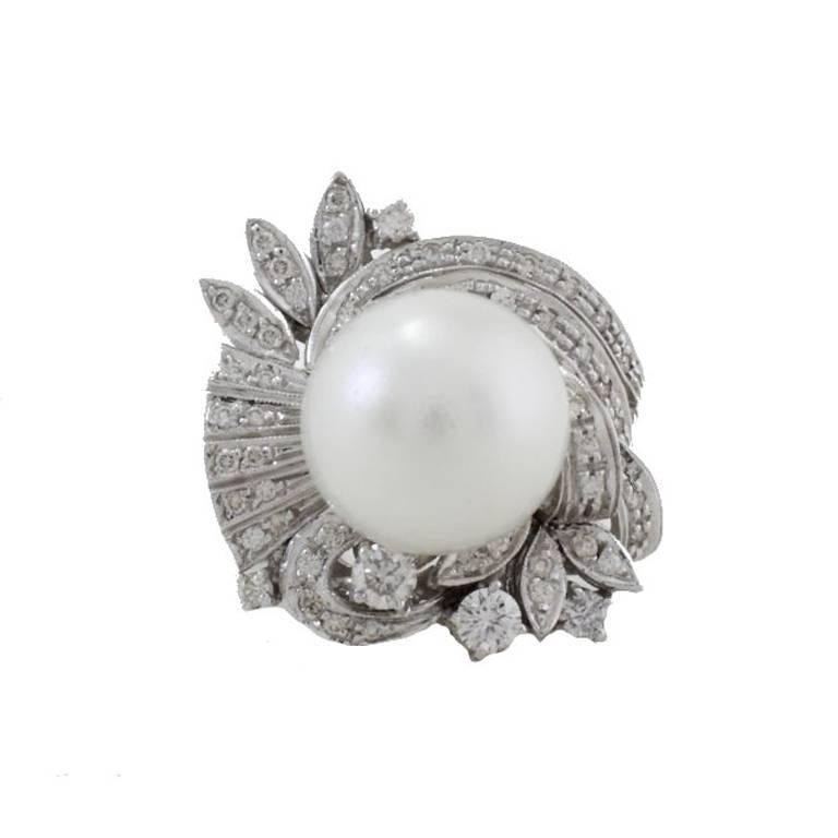 Australian Pearl Diamond Gold Ring For Sale