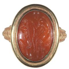 Roman Republic 2nd Century BC Carnelian Intaglio Ring of a Sculptor