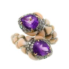 Amethyst Coral Diamond Emerald Snake Gold and Silver Ring