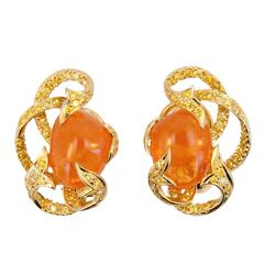 Laura Munder Mandarin Garnet and Yellow Diamond Earrings