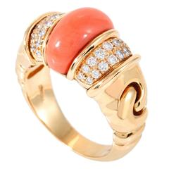 Bvlgari Diamond Coral Gold Ring