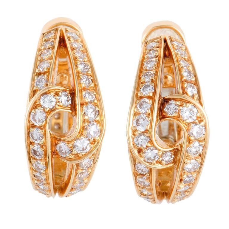Cartier Diamond Yellow Gold Huggie Clip-On Earrings