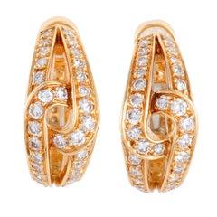 Cartier Diamond Yellow Gold Huggie Clip-On Earrings