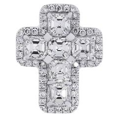 1.22 Carat Diamond White Gold Cross Pendant