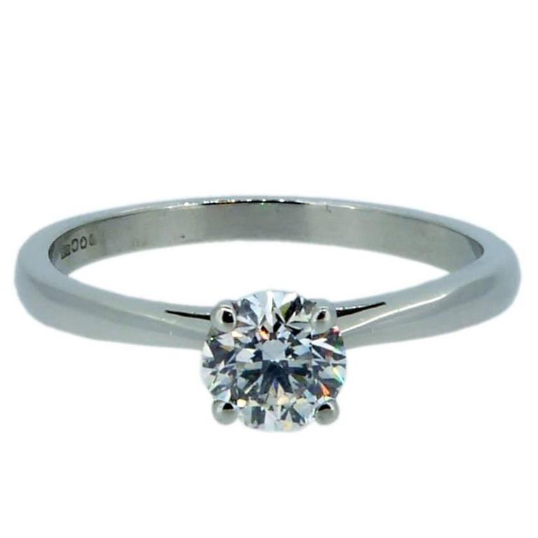 Modern 0.52 Carat Brilliant Cut Diamond Platinum Ring