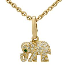 Cartier Diamond and Emerald Yellow Gold Elephant Pendant
