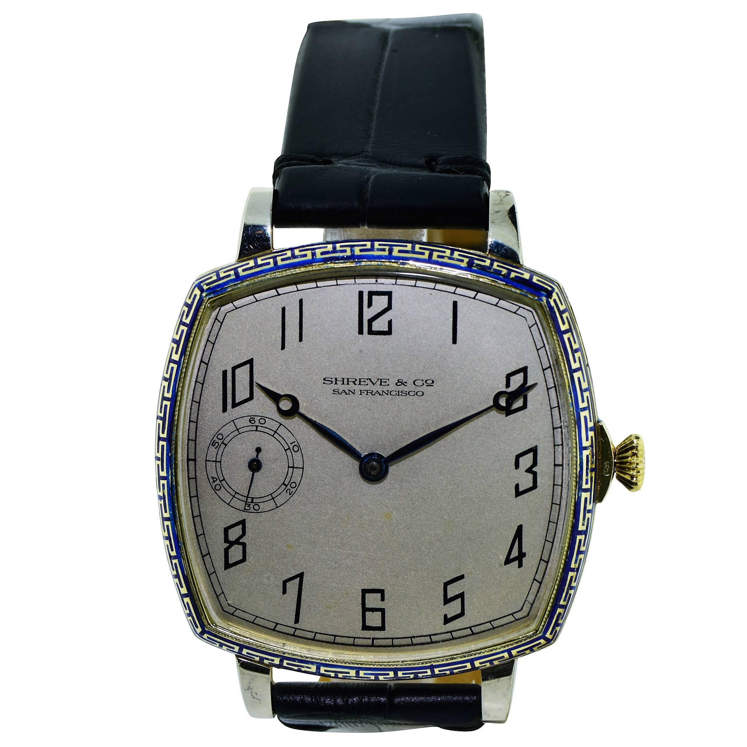 Shreve Yellow and White Gold Enamel Oversized Art Deco Watch