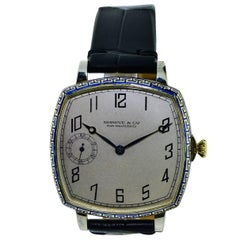 Shreve Yellow and White Gold Enamel Oversized Art Deco Watch