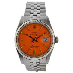 Rolex Stainless Steel Datejust Oyster Perpetual Orange Dial Wristwatch c1970s