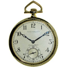 J.E. Caldwell by I.W.C. Yellow Gold Open Faced Art Deco Pocket Watch
