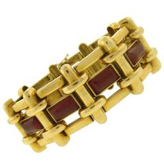 A. Cipullo for Cartier Carnelian Link Yellow Gold Bracelet
