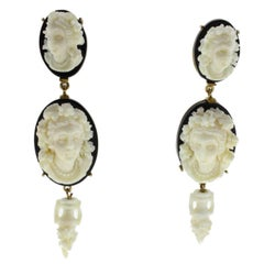 Onyx Cameo Gold  Earrings